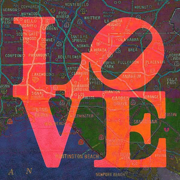 Orange County Digital Art - So Cal Love V1 by Brandi Fitzgerald