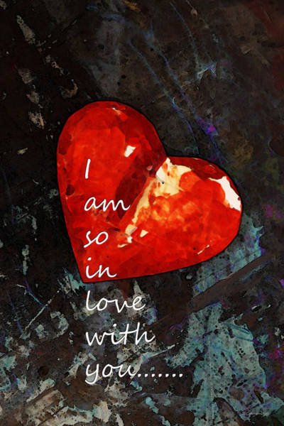 Buy Art Online Painting - So In Love With You - Romantic Red Heart Painting by Sharon Cummings