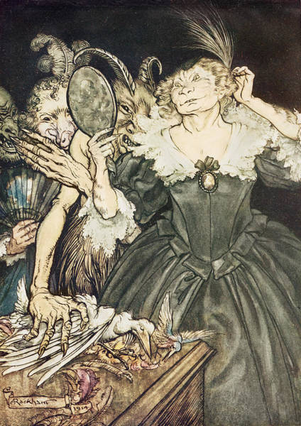 Raven Drawing - So Perfect Is Their Misery by Arthur Rackham