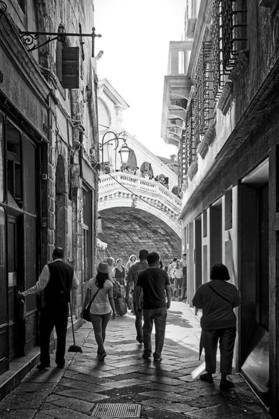 Photograph - Venetian Alleyway In Black And White, Reaching The Rialto Bridge In Venice, Italy by Fine Art Photography Prints By Eduardo Accorinti