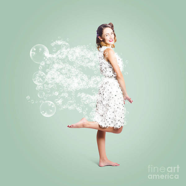 Playful Digital Art - Soap Suds Pin Up Girl by Jorgo Photography - Wall Art Gallery