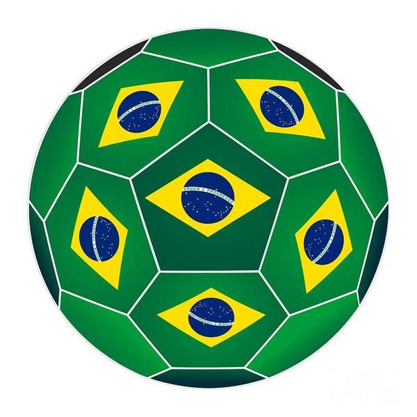 Digital Art - Soccer Ball With Brazilian Flag by Michal Boubin