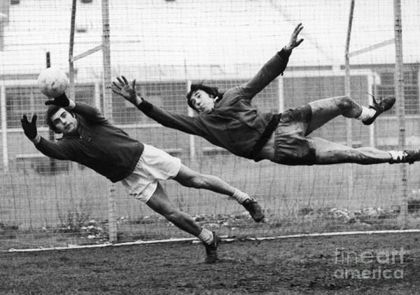Workout Photograph - Soccer Goalies, 1974 by Granger