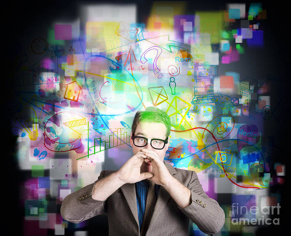 Wall Art - Photograph - Social Media Internet Man With Marketing Message by Jorgo Photography - Wall Art Gallery
