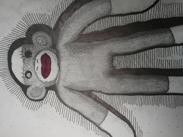 Sock Monkey Drawing - Sock Monkey by Riley Thomas