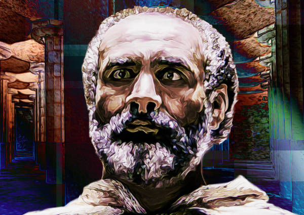 Philosopher Digital Art - Socrates #1 by Chas Hauxby