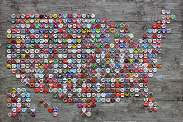 Map Of United States Mixed Media - Soda Pop Bottle Cap Map Of The United States Of America by Design Turnpike