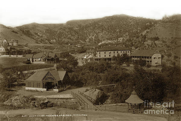 Photograph -  Soda Springs And Cliff House In Manitou, Colorado by California Views Archives Mr Pat Hathaway Archives