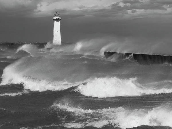 Photograph - Sodus Point Light During The Storm by Chris Babcock