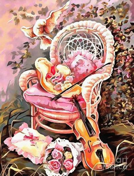 Painting - Soft And Dreamy Collection Interior Design Thick Paint Chair And Dove  by Catherine Lott