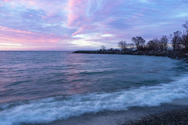 Promontory Point Photograph - Soft And Rough - Colorful Dawn On The Lakeshore by Georgia Mizuleva