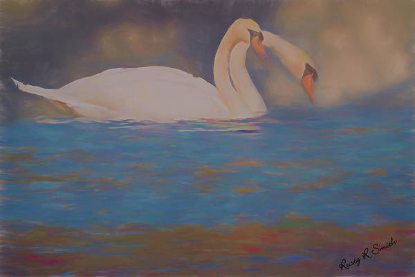 Digital Art - Soft Art Photograph Of Two Mute Swans. by Rusty R Smith