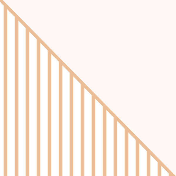 Decorative Digital Art - Soft Blush And Coral Stripe Triangles by Linda Woods