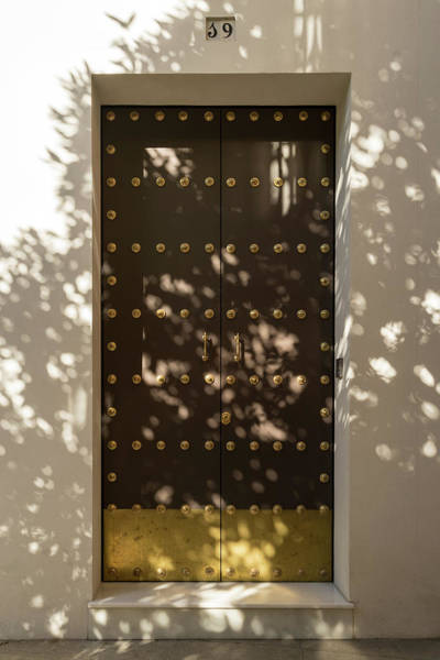 Photograph - Soft Chocolate Shadows - Vintage Wooden Door Fortified With Brass Studs by Georgia Mizuleva