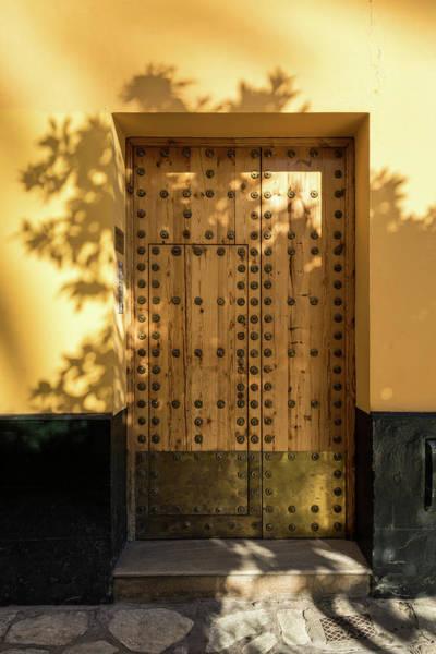 Photograph - Soft Golden Shadows - Antique Door Fortified With Brass Studs Seville Spain by Georgia Mizuleva