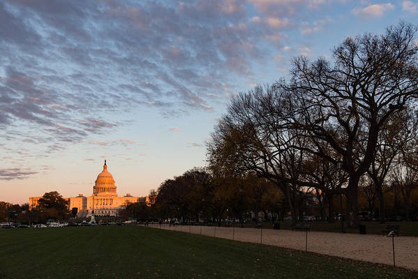 Photograph - Soft Orange Glow - U S Capitol And The National Mall At Sunset by Georgia Mizuleva