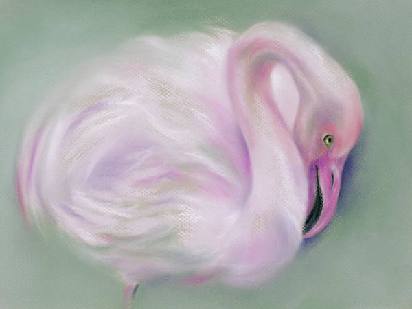 Pastel - Soft Pink Flamingo Mirrored by MM Anderson
