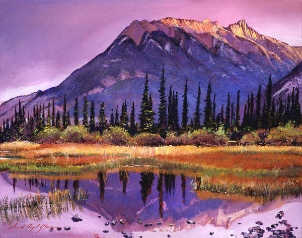 Mountain Lake Painting - Soft Shades Of Reflections by David Lloyd Glover