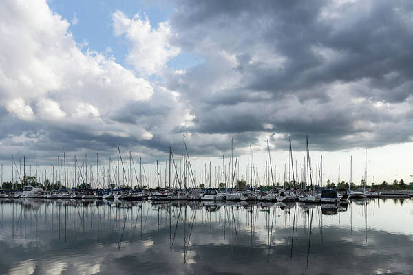 Photograph - Soft Silver - Reflecting On Boats And Clouds by Georgia Mizuleva