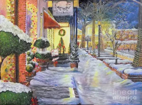Painting - Soft Snowfall In Dahlonega Georgia An Old Fashioned Christmas by Nicole Angell