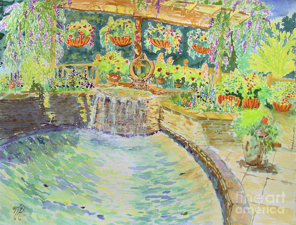 Painting - Soft Waterfall In The Pool Of Gibbs Gardens by Nicole Angell