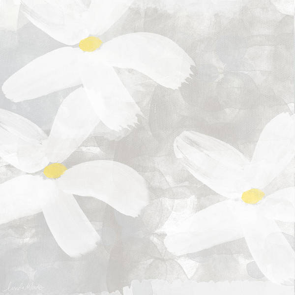 Gray Painting - Soft White Flowers by Linda Woods