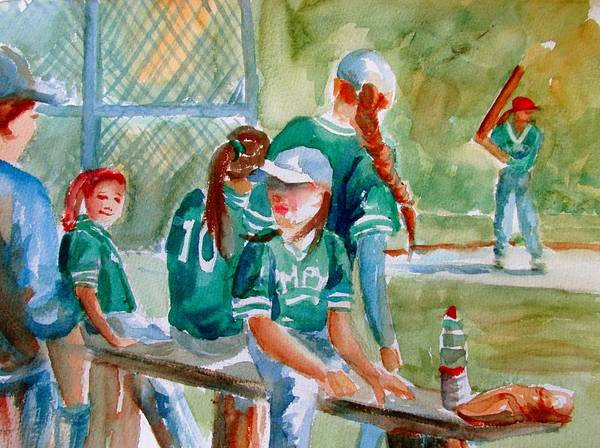 Hitter Painting - Softball Ponytails by Linda Emerson