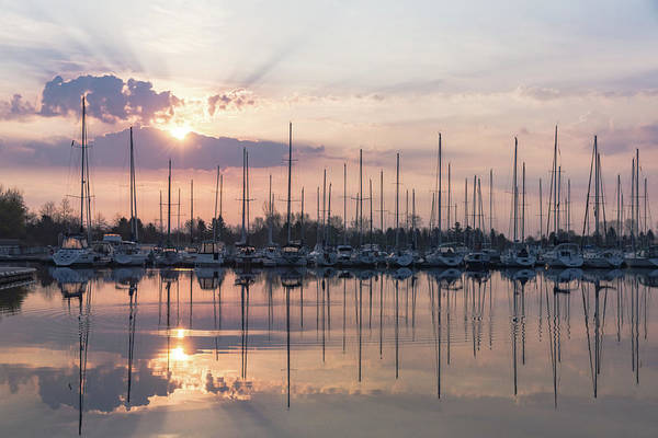 Photograph - Softly - God Rays And Yachts In Rose Gold And Amethyst  by Georgia Mizuleva