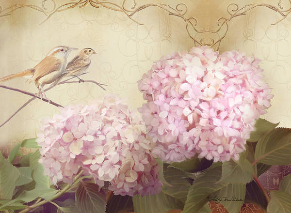 Wall Art - Painting - Softly Summer - Carolina Wrens W Blush Pink Hydrangeas by Audrey Jeanne Roberts