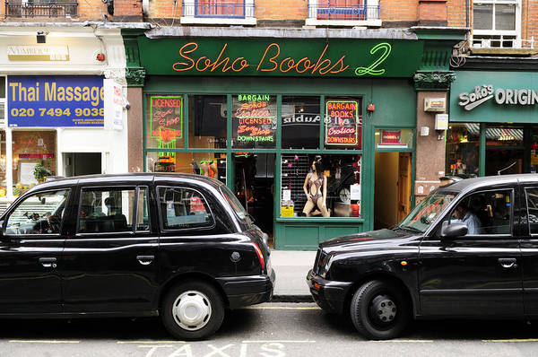 Wall Art - Photograph - Soho Books 2 And Taxis In London by Liz Pinchen