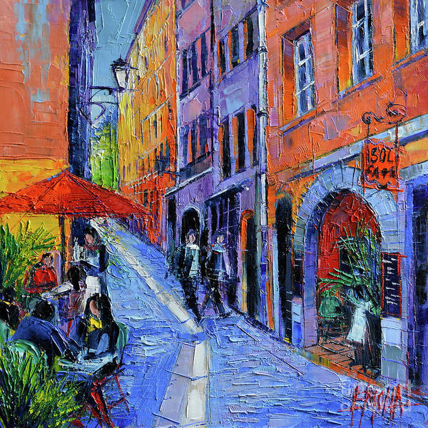 Urban Expressions Wall Art - Painting - Sol Cafe Lyon Modern Impressionist Palette Knife Oil Painting by Mona Edulesco