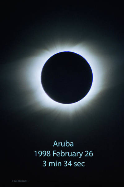 Photograph - Solar Eclipse Aruba 1998 by Lon Dittrick