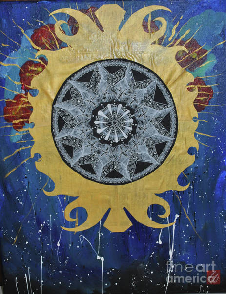 Eclipse Mixed Media - Solar Eclipse Mandala by Jeanette Clawson