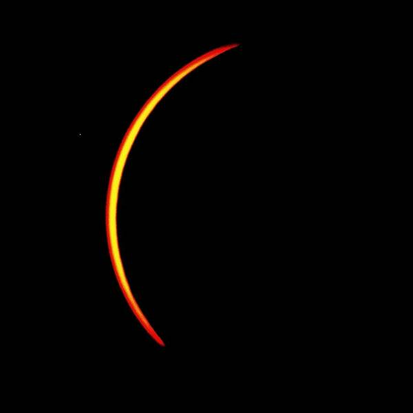 Photograph - Solar Eclipse- Thin Crescent  by Bradford Martin