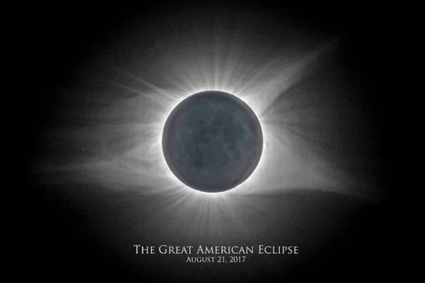 Photograph - Solar Eclipse With Moon Detail And Text by Lori Coleman