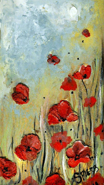Sold Mom And Poppies Art Print by Amanda  Sanford