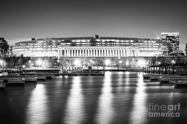 Wall Art - Photograph - Soldier Field Black And White Photo by Paul Velgos