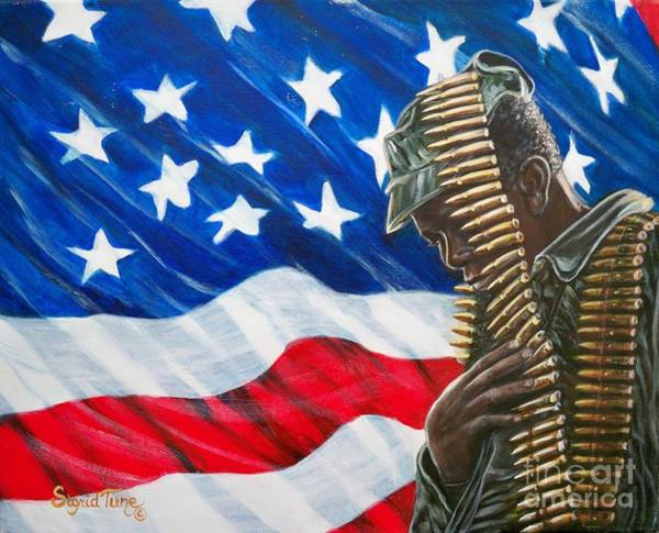 Painting - Proudly Serving   American  Soldier - U.s.a. by Sigrid Tune