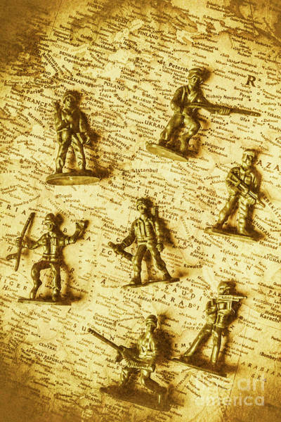 Toy Gun Photograph - Soldiers And Battle Maps by Jorgo Photography - Wall Art Gallery