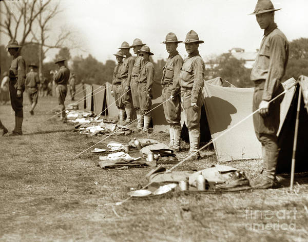 Photograph - Soldiers Lined Up For Inspection In France Circa 1918 by California Views Archives Mr Pat Hathaway Archives