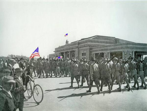 Photograph - Soldiers Marching In Ww1 Parade El Paso And Southwestern Depot Tucson  Arizona Circa 1916-2015 by David Lee Guss