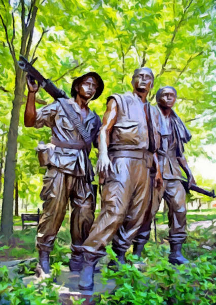 Wall Art - Photograph - Soldiers Statue At The Vietnam Wall by Bob Johnston