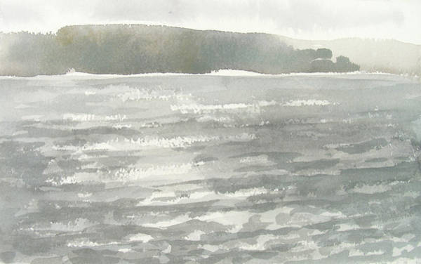 Painting - Soldis Over Glittrande Fjord - Sunlit Haze Over Glittering Water_0023 76x48cm by Marica Ohlsson