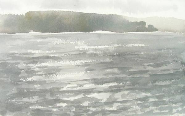 Soldis Over Glittrande Fjord - Sunlit Haze Over Glittering Water_0023 76x48cm Art Print
