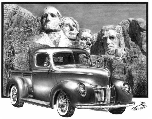 Hot Rod Drawing - Solid As A Rock by Peter Piatt