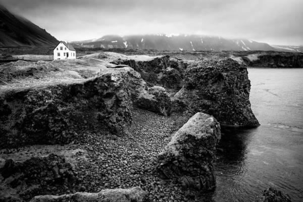 Photograph - Solitary House At Arnarstapi Coast Iceland Black And White by Matthias Hauser
