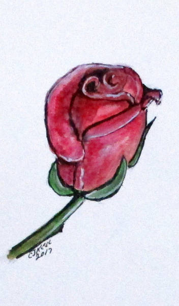 Painting - Solitary Rose by Clyde J Kell