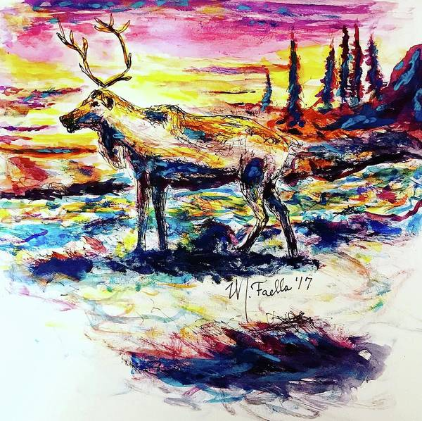Painting - Solitude Caribou by Monique Faella