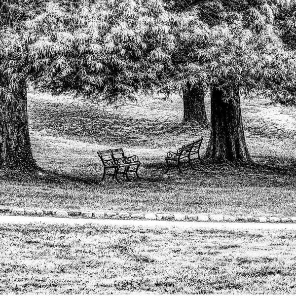 Park Bench Digital Art - Solitude In Park by Roger Warf