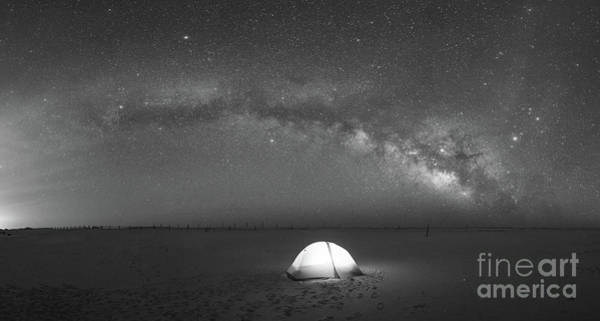 Photograph - Solitude Under The Stars Pano Bw by Michael Ver Sprill